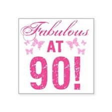 "Fabulous 90th Birthday Square Sticker 3"" x 3"""