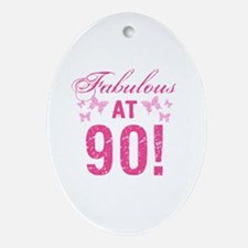 Fabulous 90th Birthday Oval Ornament
