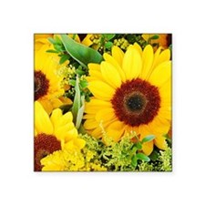 "Unique Sunflower bouquet Square Sticker 3"" x 3"""