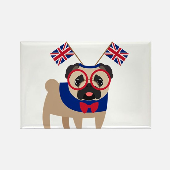 Brit Pug with Union Jac Rectangle Magnet (10 pack)