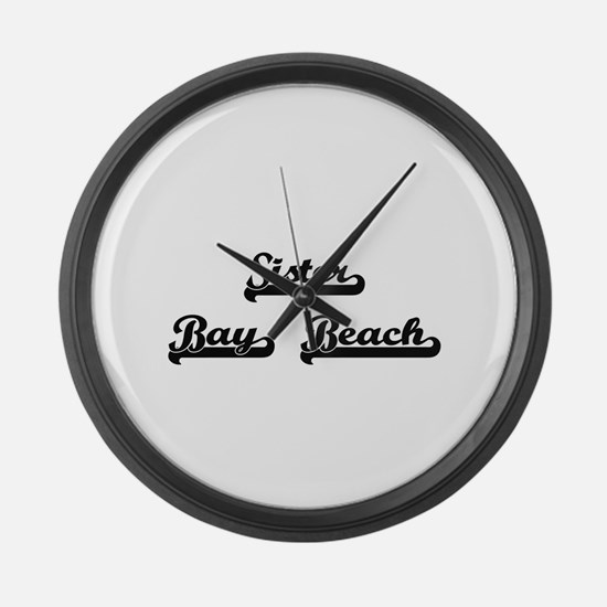 Sister Bay Beach Classic Retro De Large Wall Clock
