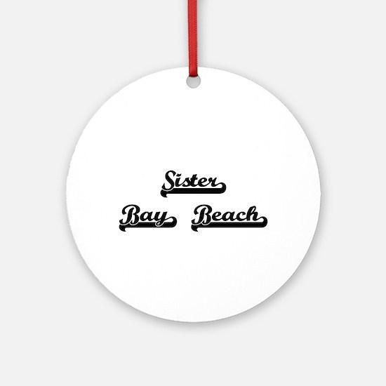 Sister Bay Beach Classic Retro De Ornament (Round)