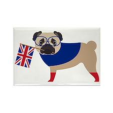 Brit Pug with Union Jack Flag Rectangle Magnet