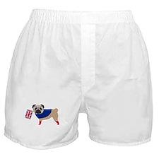 Brit Pug with Union Jack Flag Boxer Shorts