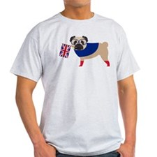 Brit Pug with Union Jack Flag T-Shirt