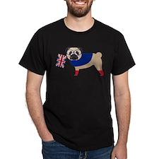 Brit Pug with Union Jack Flag T-Shirt