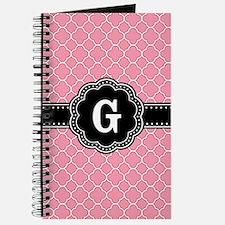 Pink Quatrefoil Pattern Black Floral Monogram Jour