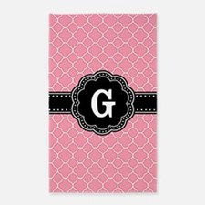 Pink Quatrefoil Pattern Black Floral Monogram Area
