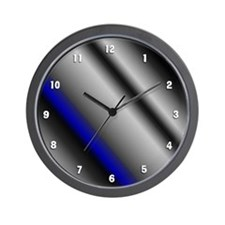 Blue Strpe White Numbers Wall Clock