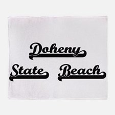 Doheny State Beach Classic Retro Des Throw Blanket