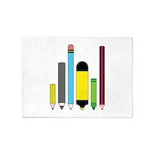 Pencils, Crayons, Markers 5'x7'Area Rug