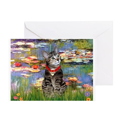 Tabby Tiger Cat in Lilies Greeting Card