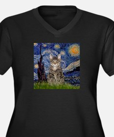 Starry Night & Tiger Cat Women's Plus Size V-Neck