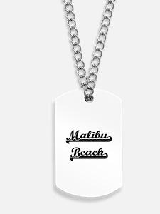 Malibu Beach Classic Retro Design Dog Tags