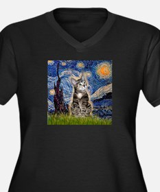 Starry / Tiger Cat Women's Plus Size V-Neck Dark