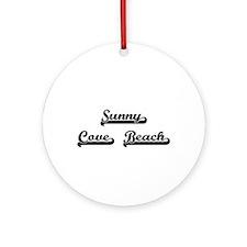 Sunny Cove Beach Classic Retro De Ornament (Round)