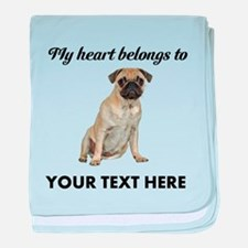Personalized Pug Dog baby blanket
