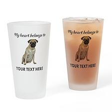 Personalized Pug Dog Drinking Glass