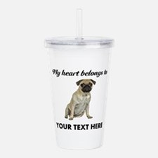 Personalized Pug Dog Acrylic Double-wall Tumbler
