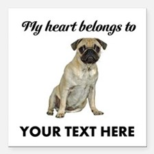 "Personalized Pug Dog Square Car Magnet 3"" x 3"""