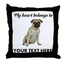 Personalized Pug Dog Throw Pillow