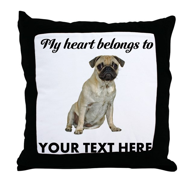 Personalized Dog Throw Pillows : Personalized Pug Dog Throw Pillow by cafepets