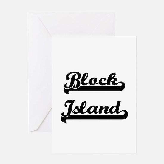 Block Island Classic Retro Design Greeting Cards