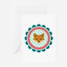 Baby Fox Patch Greeting Cards