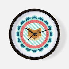 Baby Fox Patch Wall Clock