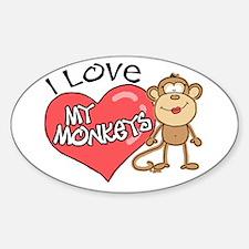 I Love My Monkeys Oval Decal