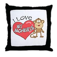 I Love My Monkeys Throw Pillow