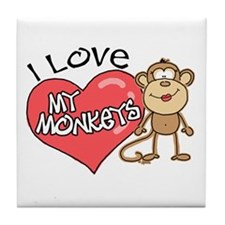 I Love My Monkeys Tile Coaster