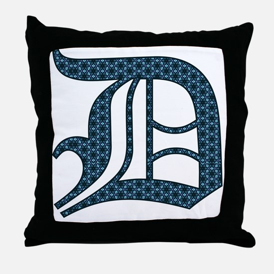 D letter monogram Old english text Throw Pillow