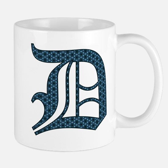 D letter monogram Old english text Mugs