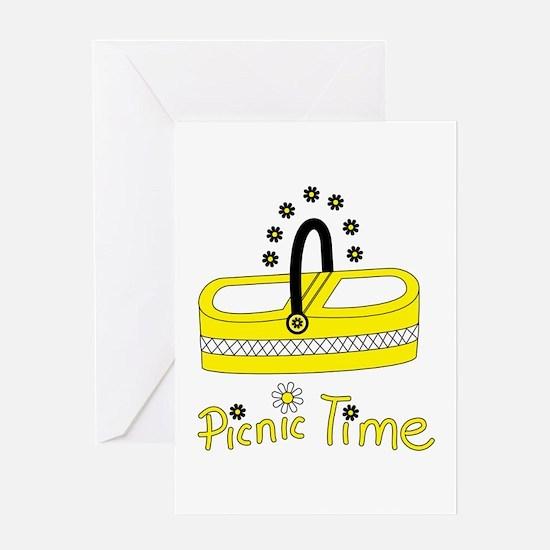 Picnic time flower basket Greeting Cards