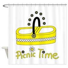 Picnic time flower basket Shower Curtain