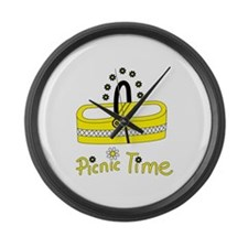 Picnic time flower basket Large Wall Clock