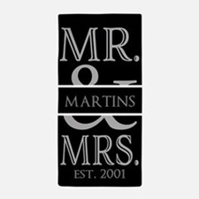 Black and Silver Mr. Mrs. Personalize Beach Towel