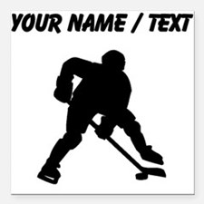 "Hockey Player (Custom) Square Car Magnet 3"" x 3"""