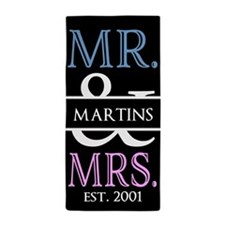 Pink and Blue Mr and Mrs Personalized Beach Towel