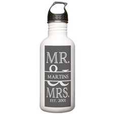 Gray White Mr. and Mr Water Bottle