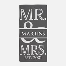 Gray White Mr. and Mrs. Wedding Perso Beach Towel