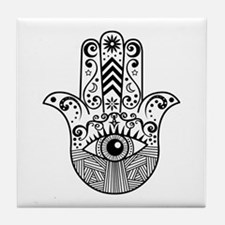 Hamsa Hand - Black Tile Coaster