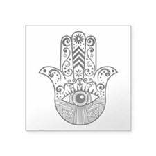 "Hamsa Hand - Black Square Sticker 3"" x 3"""