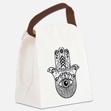 Hamsa Hand - Black Canvas Lunch Bag