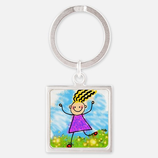 Unique Running girl Square Keychain