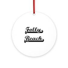 Folly Beach Classic Retro Design Ornament (Round)