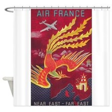 Air France Far East Vintage Travel Shower Curtain