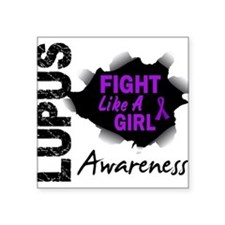 "Cute Lupus awareness Square Sticker 3"" x 3"""