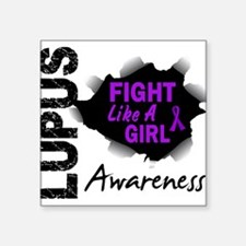 "Unique Fight like a girl sister Square Sticker 3"" x 3"""